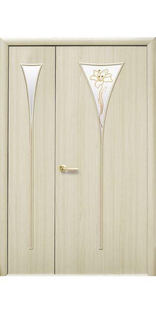 Межкомнатные двери Бора со стеклом сатин и рисунком bora-53