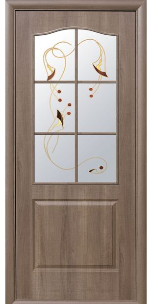 Межкомнатные двери Классик со стеклом сатин и рисунком classic-31