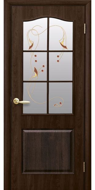 Межкомнатные двери Классик со стеклом сатин и рисунком classic-43