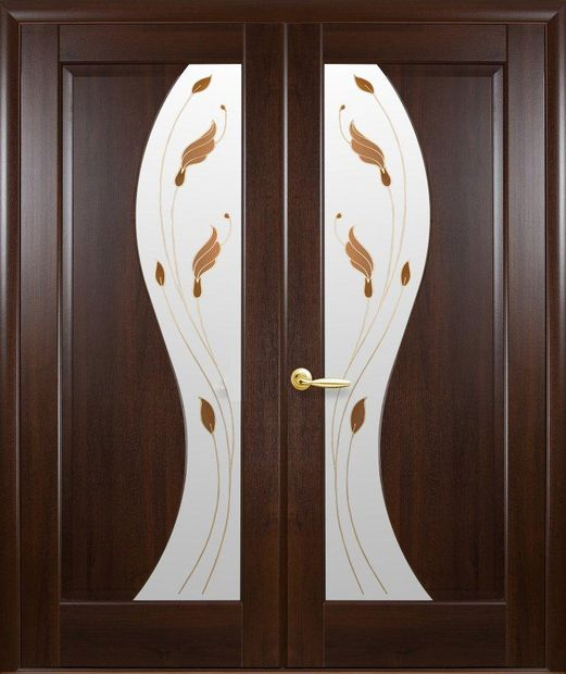 Двери двустворчатые Эскада каштан делюкс со стеклом Р1 dveri-dvustvorchatye-jeskada-kashtan-deljuks-so-steklom-r1