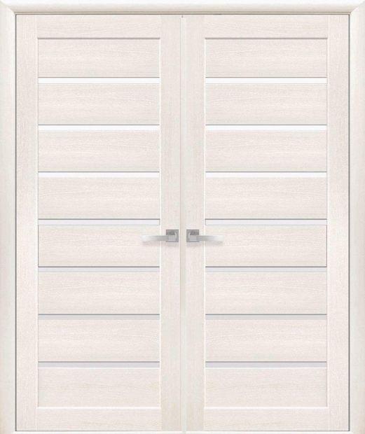 Двери двустворчатые Леона дуб жемчужный стекло Сатин dveri-dvustvorchatye-leona-dub-zhemchuzhnyj-steklo-satin