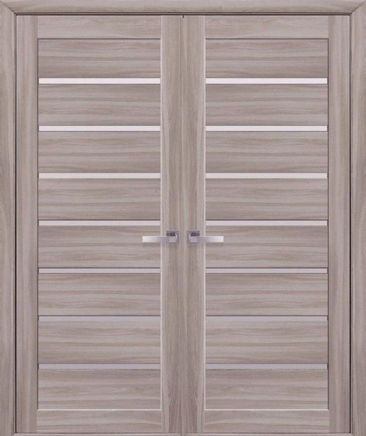 Двери двустворчатые Леона сандал стекло Сатин dveri-dvustvorchatye-leona-sandal-steklo-satin