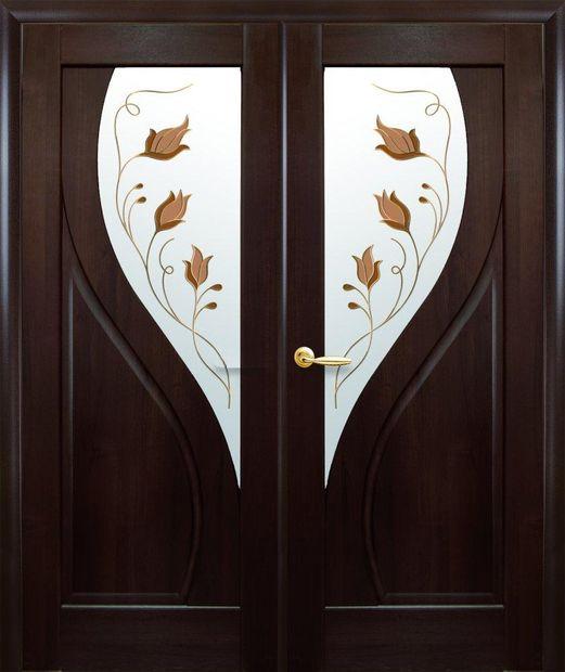 Двери двустворчатые Прима каштан делюкс со стеклом Р1 dveri-dvustvorchatye-prima-kashtan-deljuks-so-steklom-r1