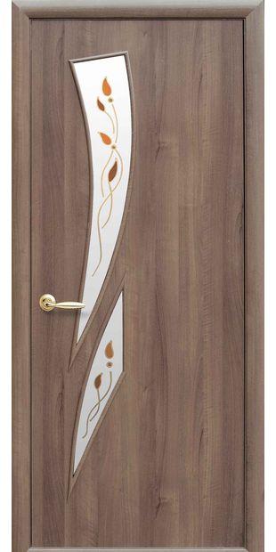 Межкомнатные двери Камея со стеклом сатин и рисунком Р1 kamea-16