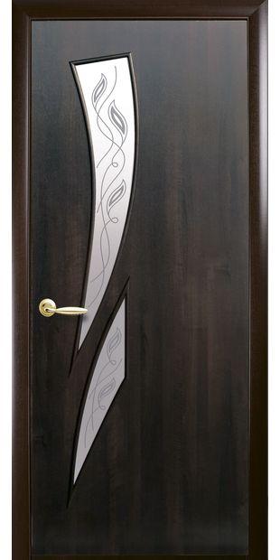 Межкомнатные двери Камея со стеклом сатин и рисунком Р2 kamea-17