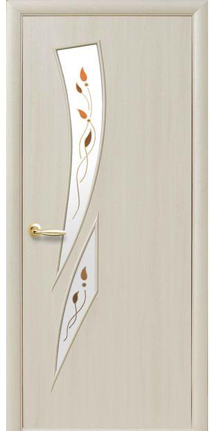 Межкомнатные двери Камея со стеклом сатин и рисунком kamea-24