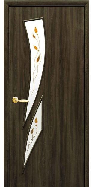 Межкомнатные двери Камея со стеклом сатин и рисунком kamea-25