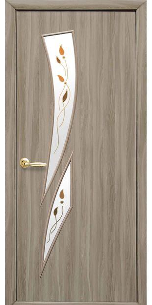 Межкомнатные двери Камея со стеклом сатин и рисунком Р1 kamea-32