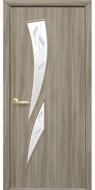 Межкомнатные двери Камея со стеклом сатин и рисунком Р2 kamea-33