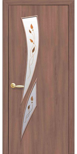 Межкомнатные двери Камея со стеклом сатин и рисунком Р1 kamea-36