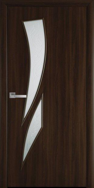 Межкомнатные двери Камея со стеклом сатин и рисунком kamea-42