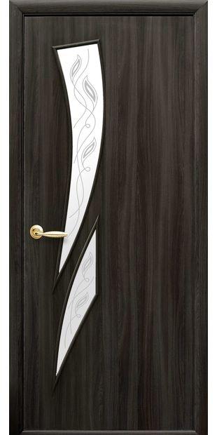 Межкомнатные двери Камея со стеклом сатин и рисунком Р2 kameya-23