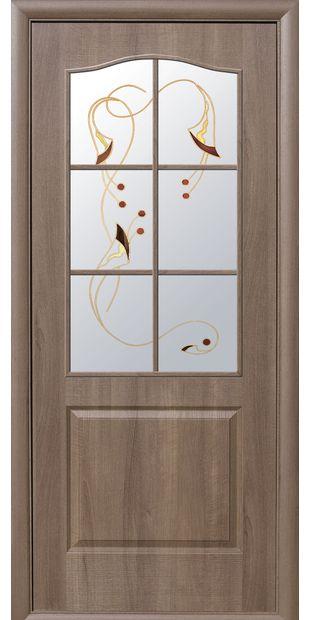 Межкомнатные двери Классик со стеклом сатин и рисунком klassik-17