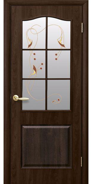 Межкомнатные двери Классик со стеклом сатин и рисунком klassik-31