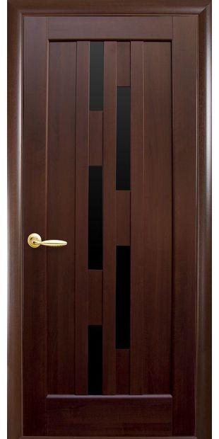 Межкомнатные двери Лаура с черным стеклом laura-8