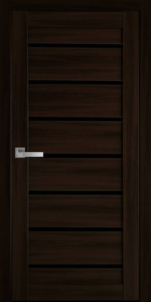 Межкомнатные двери Леона с черным стеклом leona-12