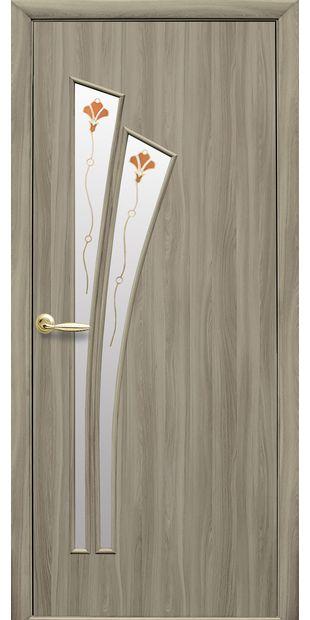 Межкомнатные двери Лилия со стеклом сатин и рисунком Р1 lilia-58