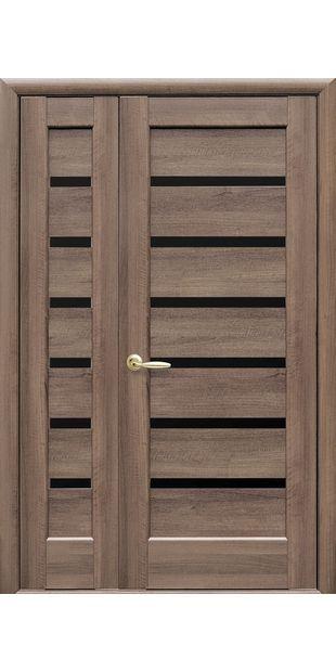 Двойные межкомнатные двери Линнея с черным стеклом linneya-35