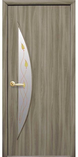 Межкомнатные двери Луна со стеклом сатин и рисунком luna-45