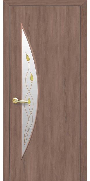 Межкомнатные двери Луна со стеклом сатин и рисунком luna-49