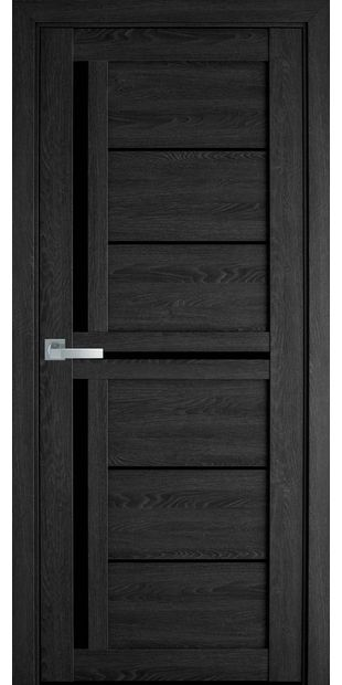 Межкомнатные двери Диана с черным стеклом moda-pvh-ultra-diana-pvh-ultra-dub-seriy-s-chernym-steklom