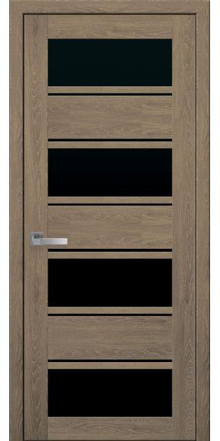 Межкомнатные двери Элиза с черным стеклом moda-pvh-ultra-jeliza-pvh-ultra-dub-medovyj-s-chernym-steklom