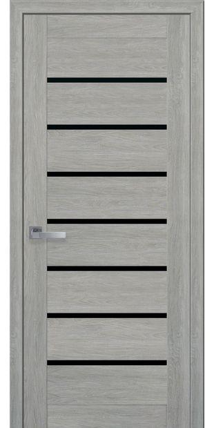 Межкомнатные двери Леона с черным стеклом moda-pvh-ultra-leona-pvh-ultra-dub-dymchatyj-s-chernym-steklom