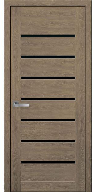 Межкомнатные двери Леона moda-pvh-ultra-leona-pvh-ultra-dub-medovyj-s-chernym-steklom