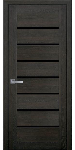Межкомнатные двери Леона moda-pvh-ultra-leona-pvh-ultra-dub-muskat-s-chernym-steklom
