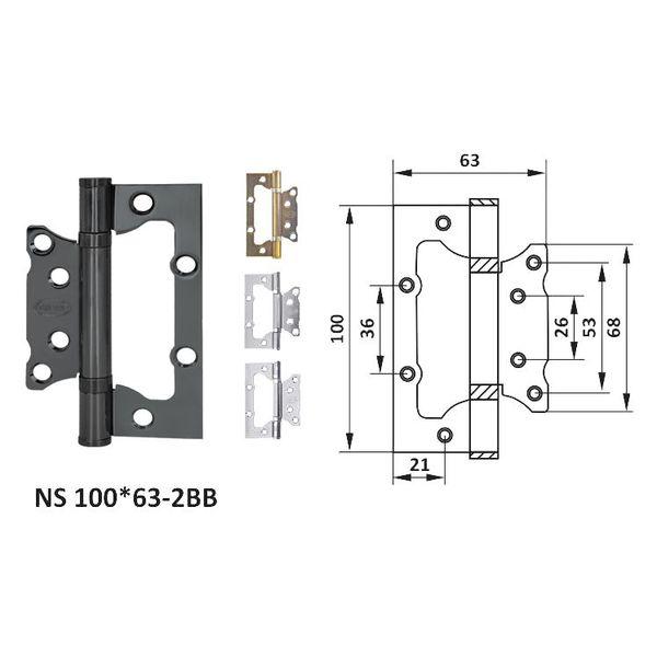 Петля дверная неврезная NS 100*63-2BB (к-т) petla-dvernaa-nevreznaa-ns-10063-2bb-k-t