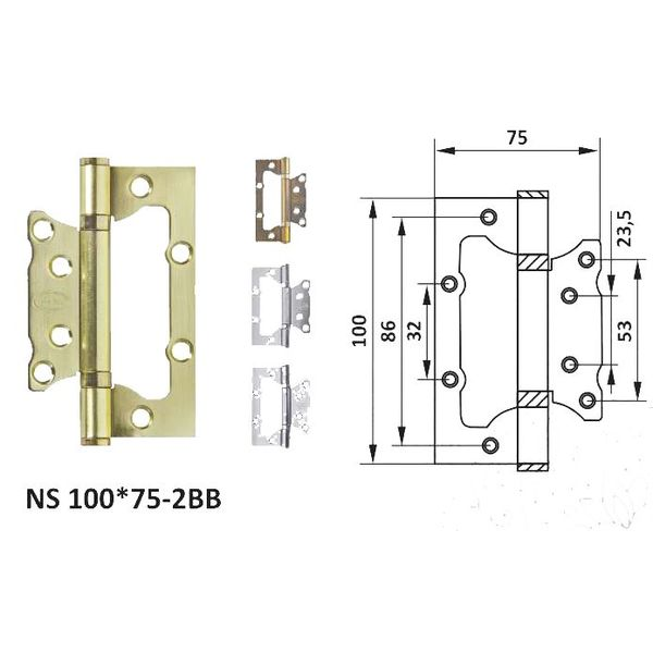 Петля дверная неврезная NS 100*75-2BB (к-т) petla-dvernaa-nevreznaa-ns-10075-2bb-k-t