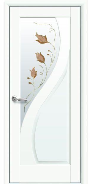 Межкомнатные двери Прима со стеклом сатин и рисунком prima-49