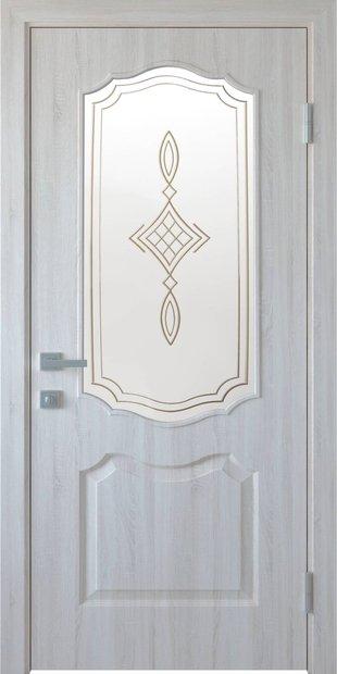 Межкомнатные двери Вензель со стеклом сатин и рисунком venzel-28