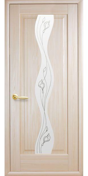 Межкомнатные двери Волна со стеклом сатин и рисунком volna-11