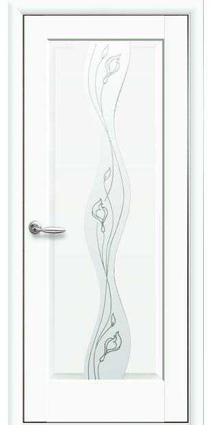 Межкомнатные двери Волна со стеклом сатин и рисунком volna-14