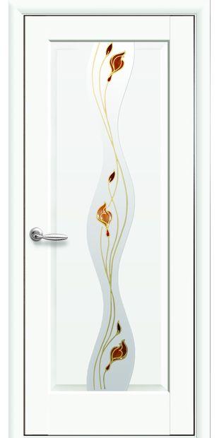 Межкомнатные двери Волна со стеклом сатин и рисунком Р1 volna-21