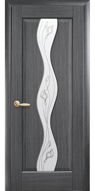 Межкомнатные двери Волна со стеклом сатин и рисунком volna-26