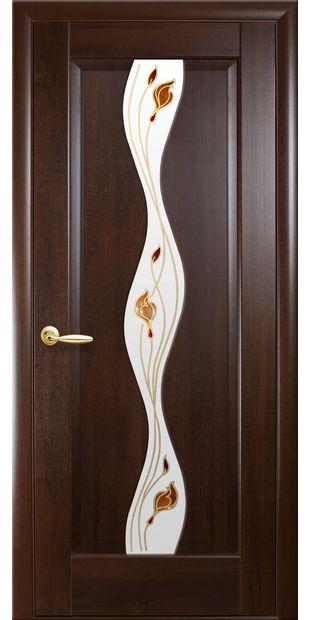 Межкомнатные двери Волна со стеклом сатин и рисунком volna-41