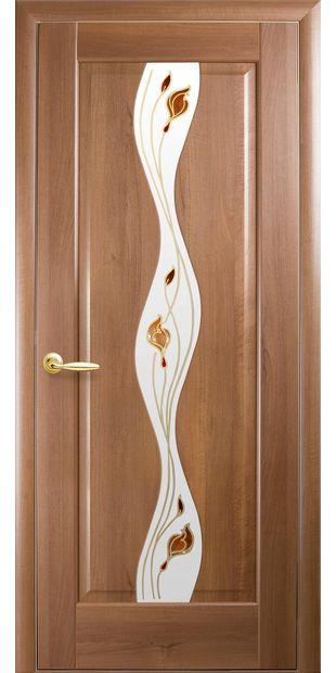 Межкомнатные двери Волна со стеклом сатин и рисунком volna-42