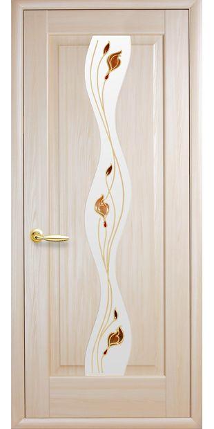 Межкомнатные двери Волна со стеклом сатин и рисунком volna-43