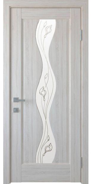 Межкомнатные двери Волна со стеклом сатин и рисунком Р1 volna-43