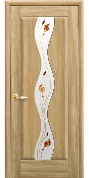 Межкомнатные двери Волна со стеклом сатин и рисунком Р1 volna-60