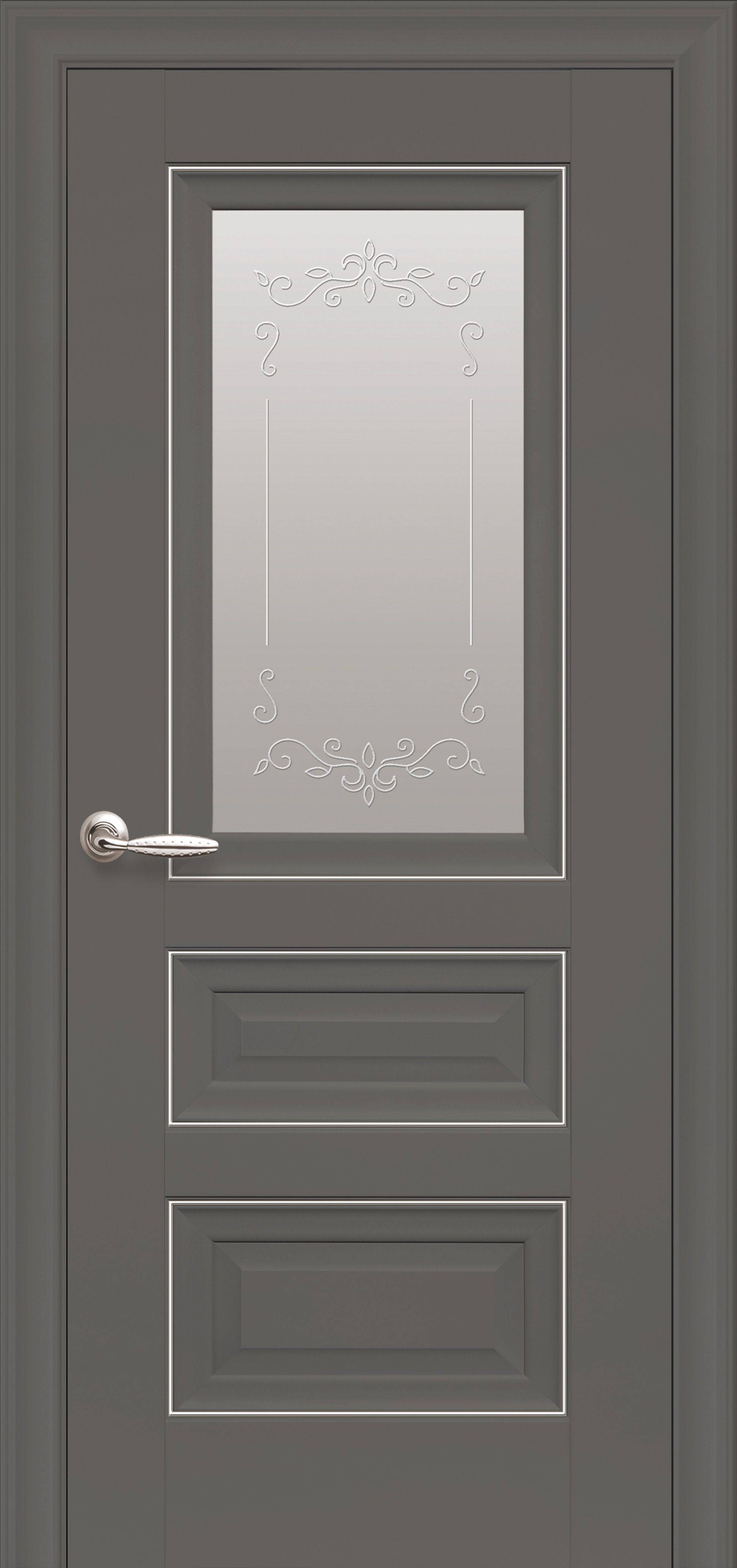 Межкомнатные двери Статус Со стеклом сатин, молдингом и рисунком