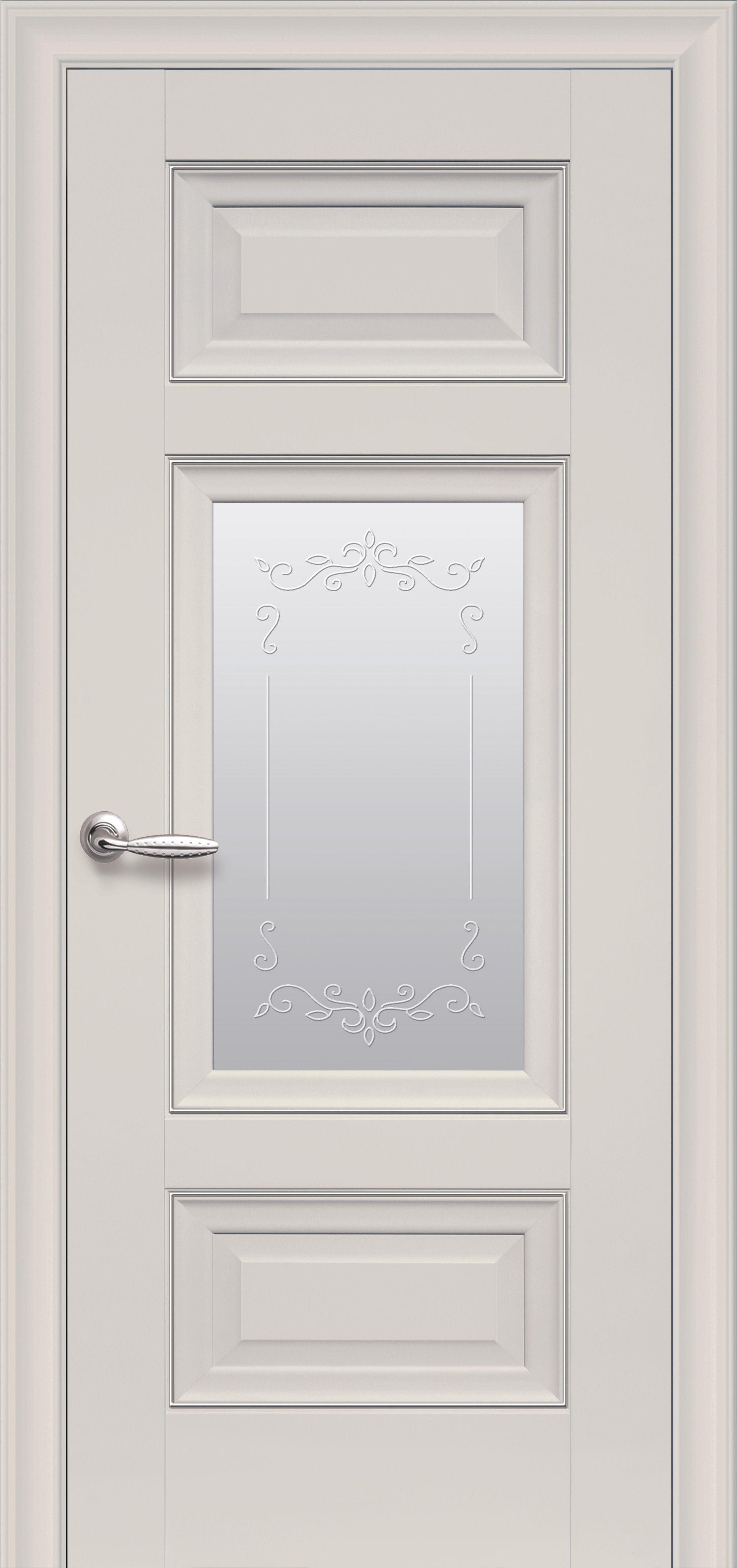 Межкомнатные двери Шарм Со стеклом сатин, молдингом и рисунком