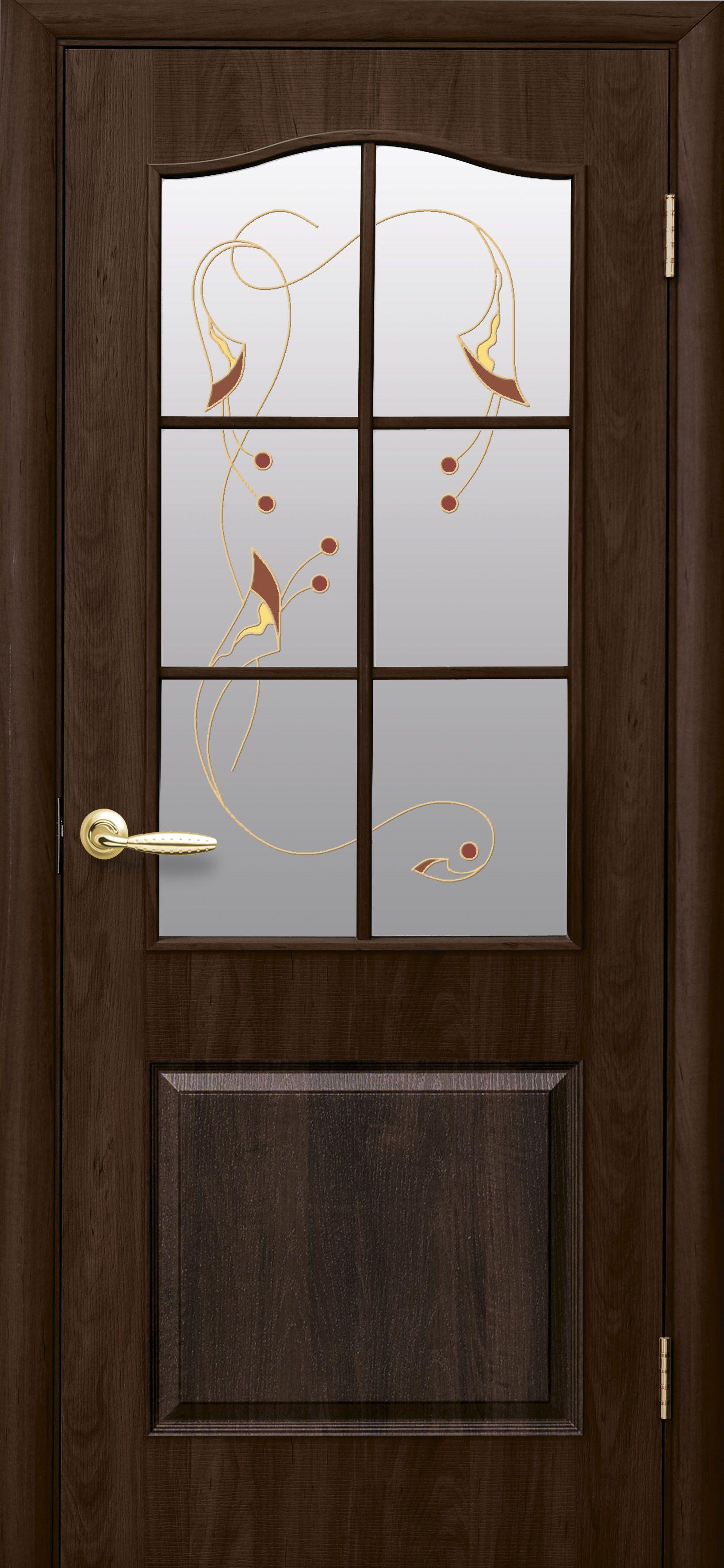 Межкомнатные двери Классик со стеклом сатин и рисунком