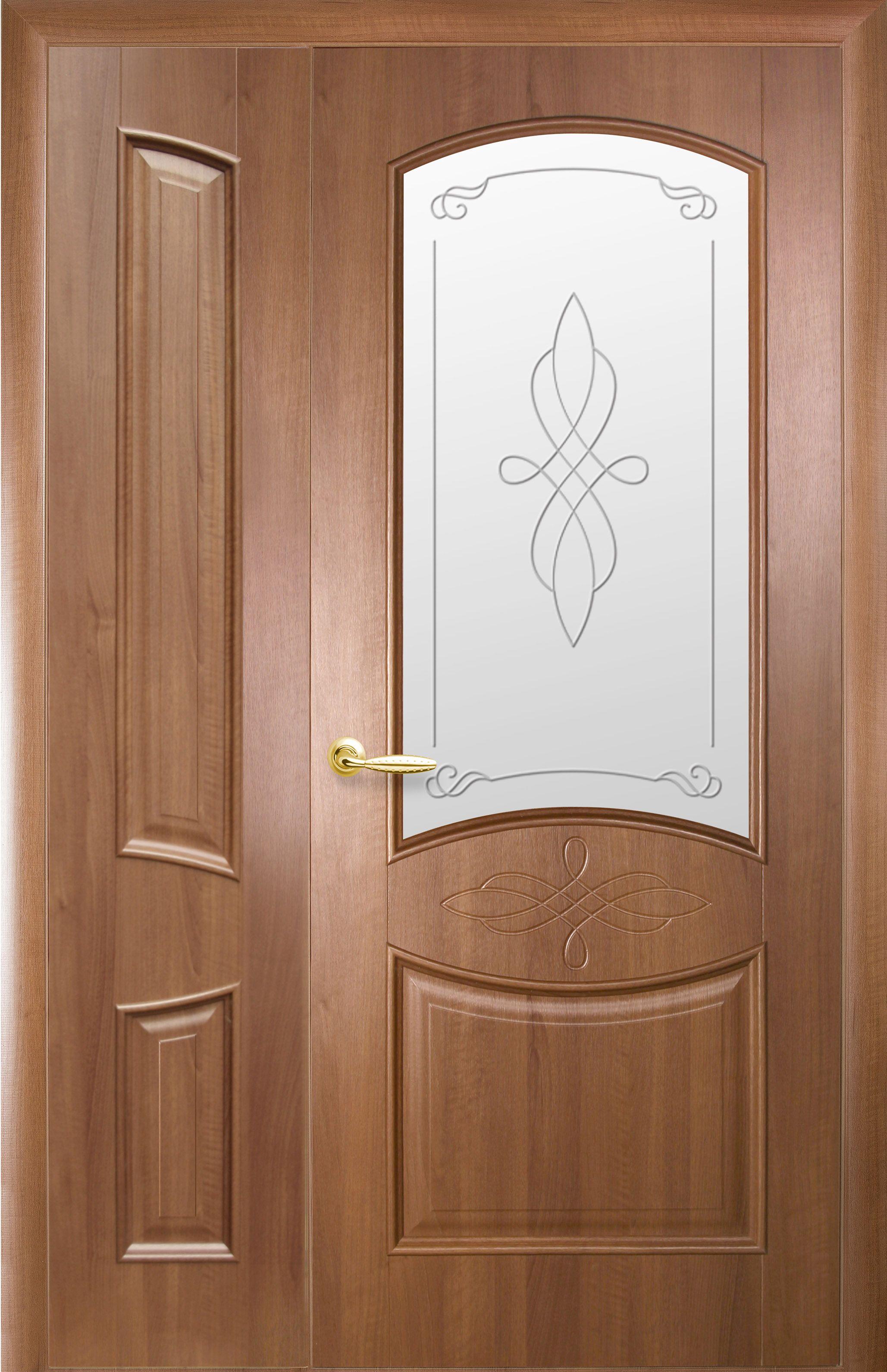 Двойные глухие межкомнатные двери Донна со стеклом сатин и рисунком
