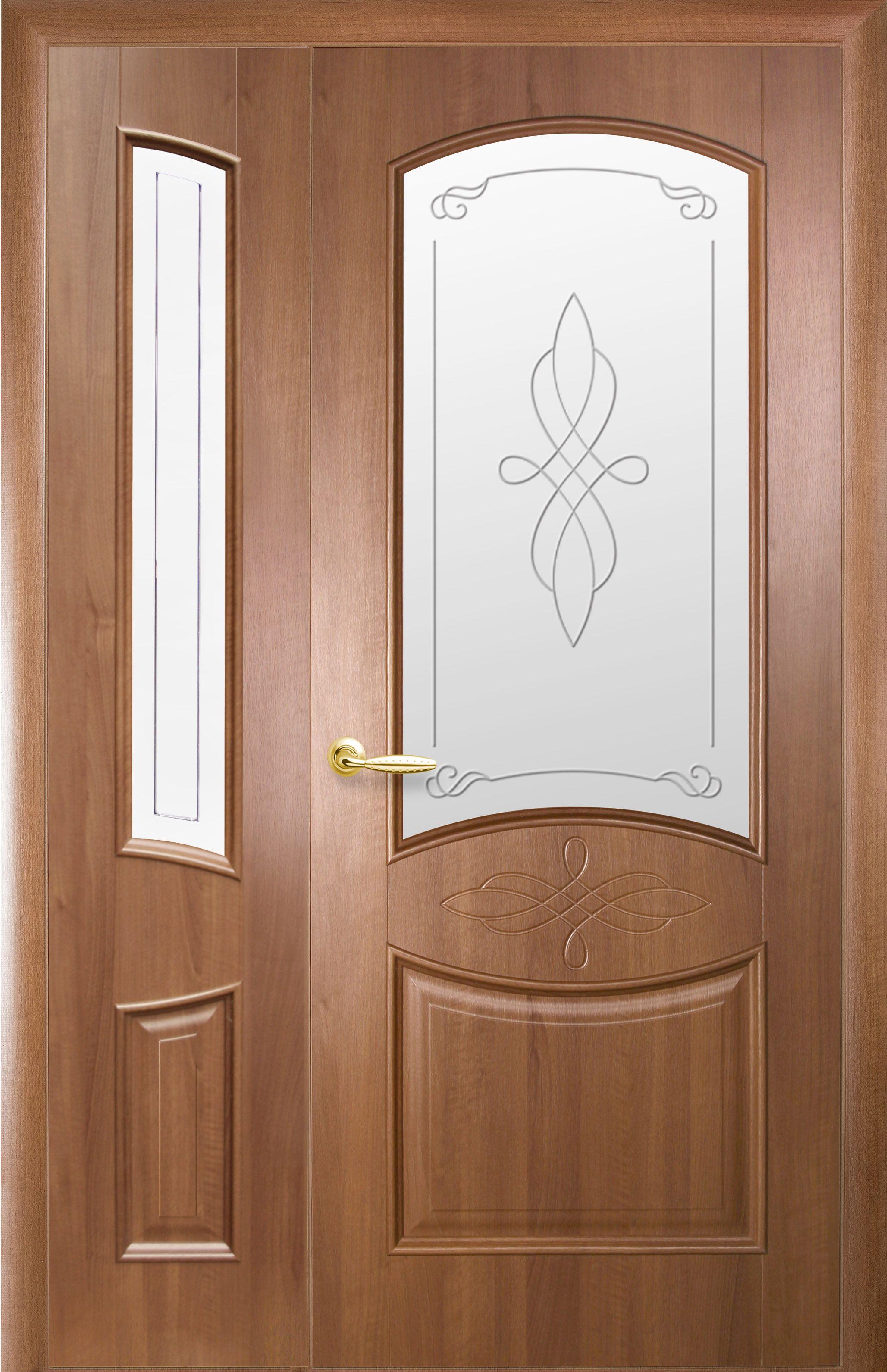 Двойные межкомнатные двери Донна со стеклом сатин и рисунком