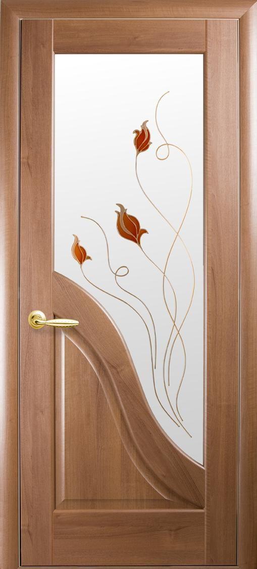 Межкомнатные двери Амата со стеклом сатин и рисунком Р1
