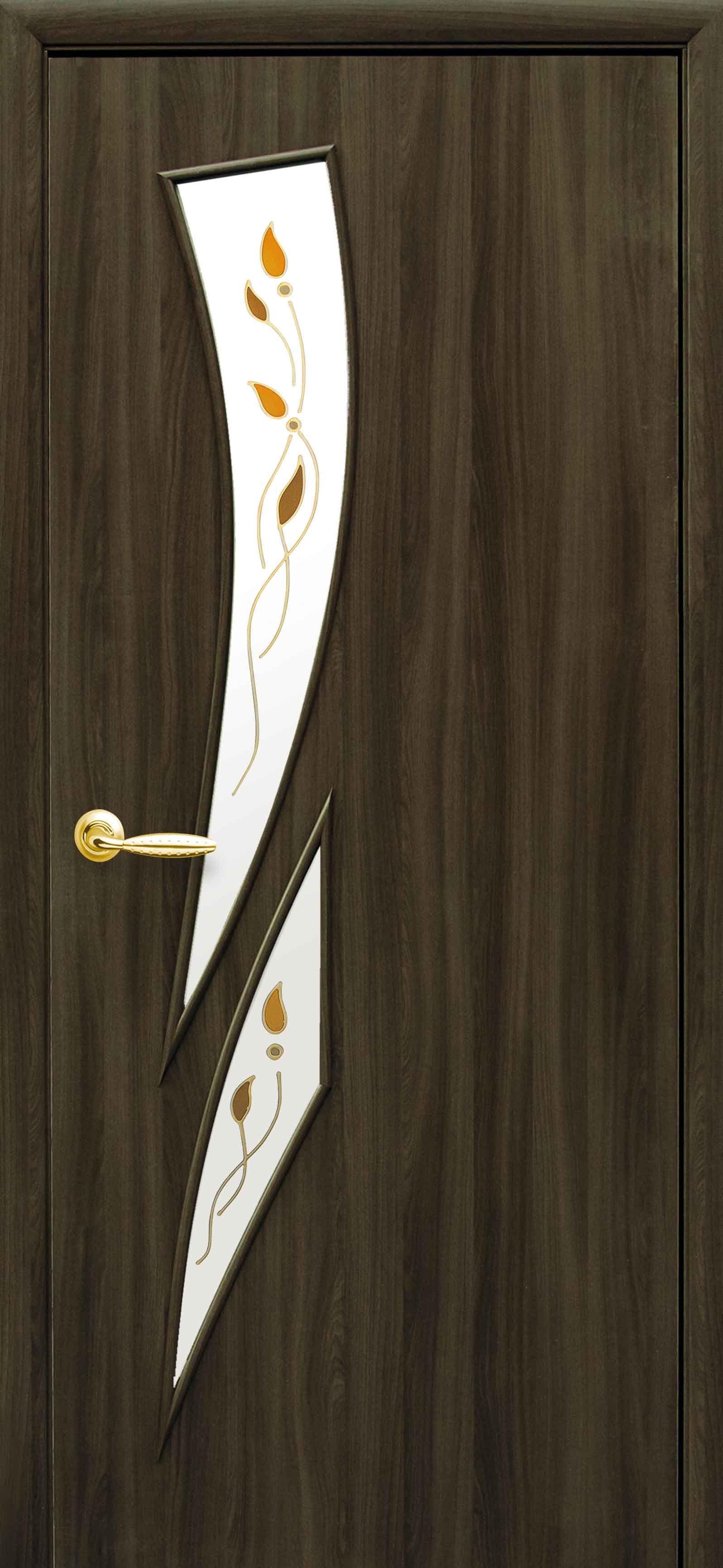Межкомнатные двери Камея со стеклом сатин и рисунком Р1
