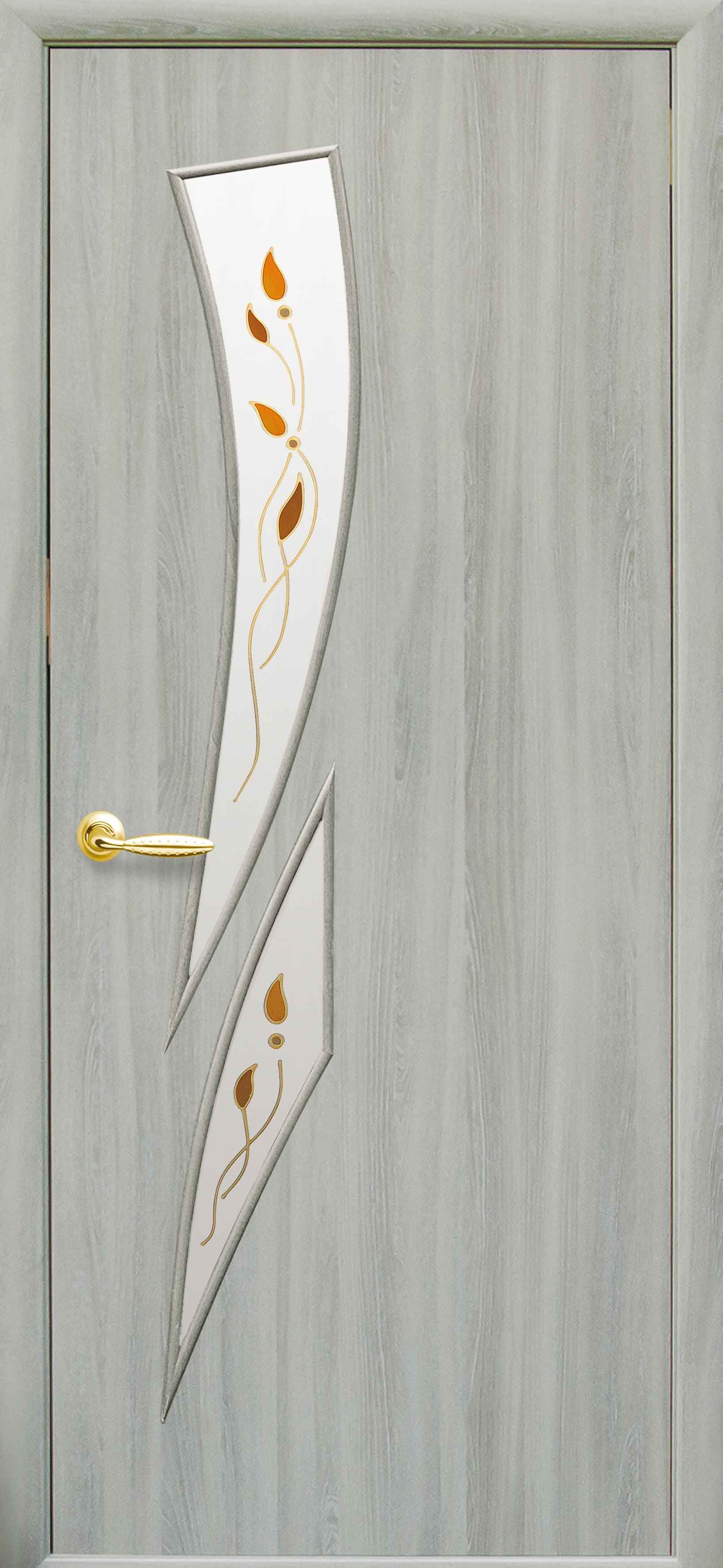 Межкомнатные двери Камея со стеклом сатин и рисунком kamea-37